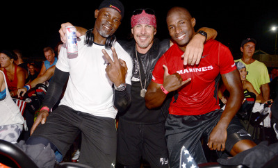 Djimon Hounsou, Founder of the Heroes Project Tim Medvetz and veteran Kionte Storey riding for a good cause!